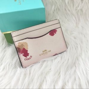 Coach leather flower card holder/ case new